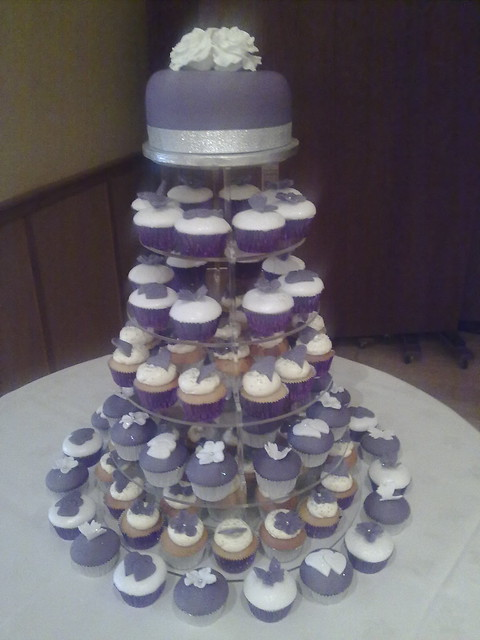 Sharon 39s Purple and Silver wedding cupcake tower