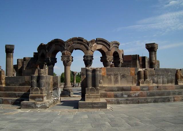Ruins of the cathedral of Zvartnots, Armenia