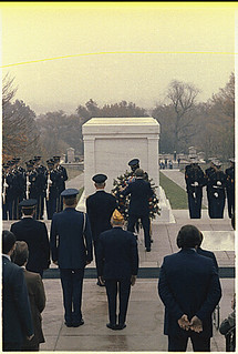 Jimmy Carter lays a wreath at the Tomb of the Unknown Soldier during veterans day ceremonies at Arlington National Cemetery., 11/11/1978.
