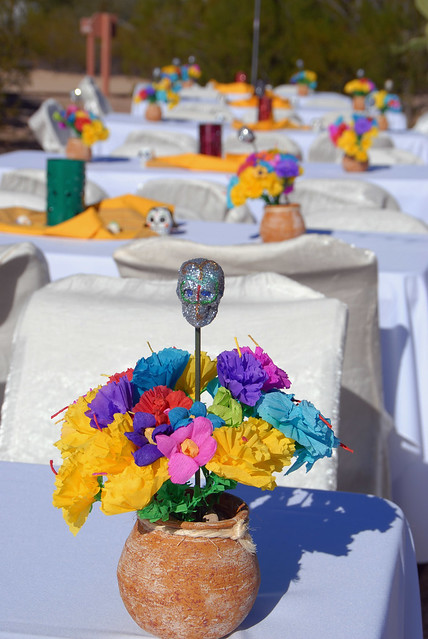 Close-up of the luchador centerpieces we made