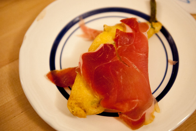Fried Squash Blossoms with Prosciutto Crudo Parma
