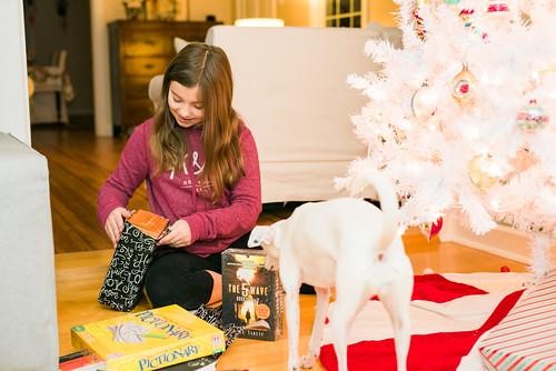 Lauren opening presents.