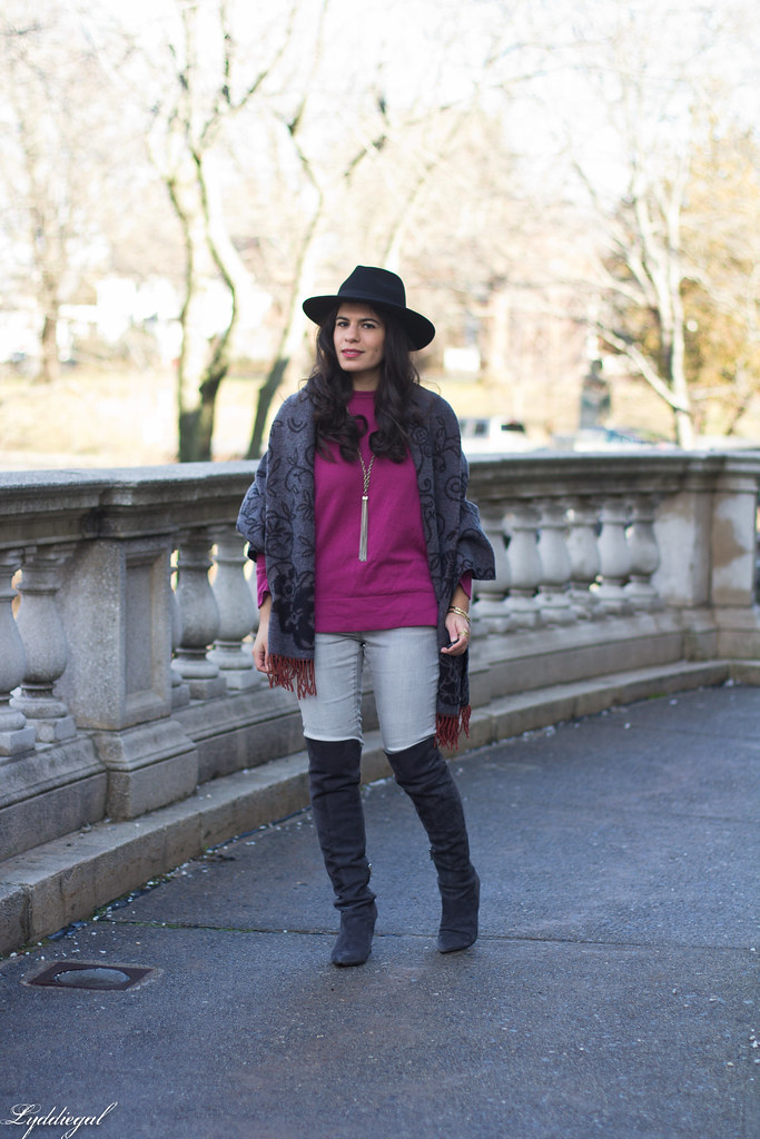 purple sweater, grey jeans, over the knee boots.jpg