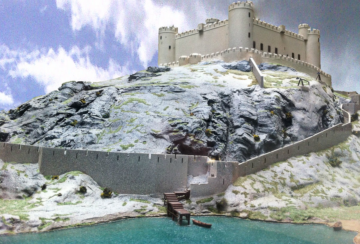 Reconstruction of the castle in the early 14th century, seen from the sea. Credit Hchc2009