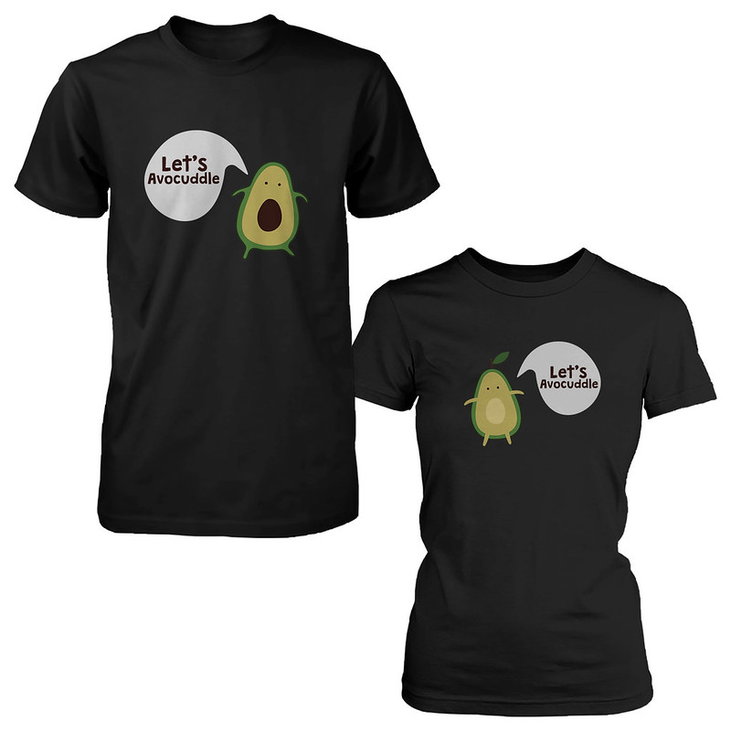 lets avocuddle cute couple shirts matching avocado black