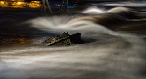 longexposure water night dark thomas barge weir castleford sunkenbarge