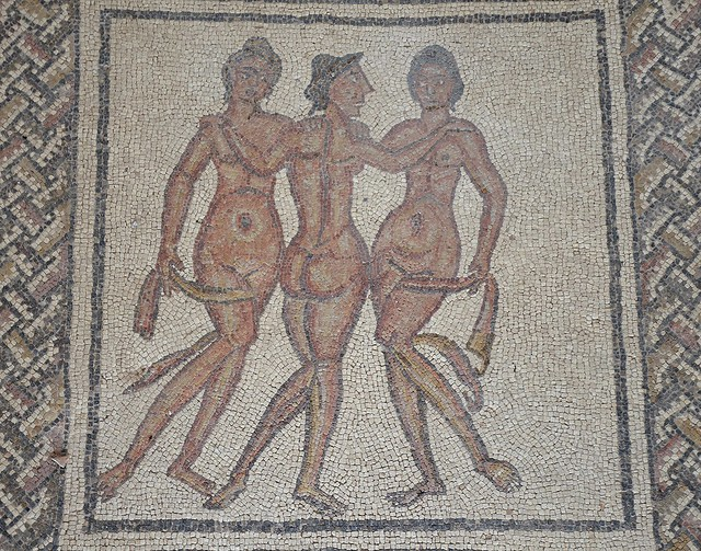 Mosaic with the Three Graces, goddesses of joy, charm and beauty, 3rd / 4th century AD, Villa romana de Fuente Álamo, Spain