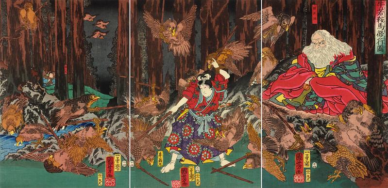 Utagawa Kuniyoshi - Ushiwaka Kurama shugyo zu, 1858
