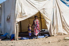 Temporary emergency camp built by UNICEF as part of the drought emergency response.