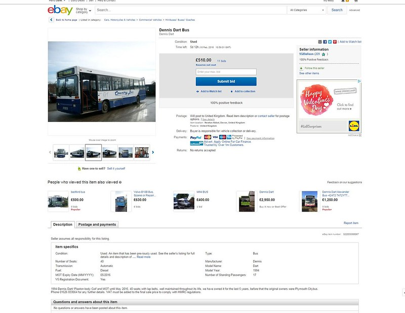 Dennis Dart Bus - eBay