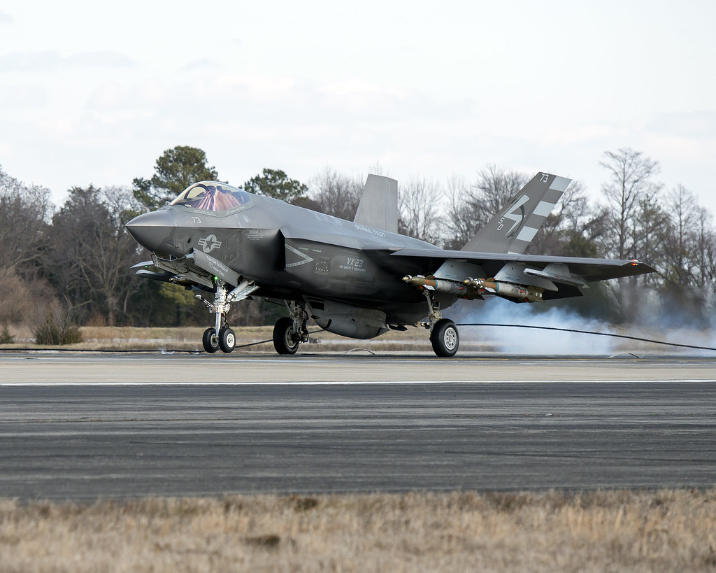 First F-35C Arrestment Landing with External Weapons