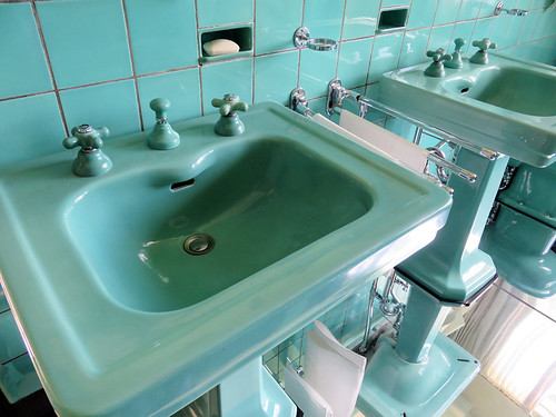 Turquoise Sink in the Sonneveld House in Rotterdam, Holland