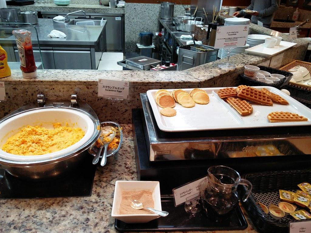 Scrambled egg, waffle and pancake