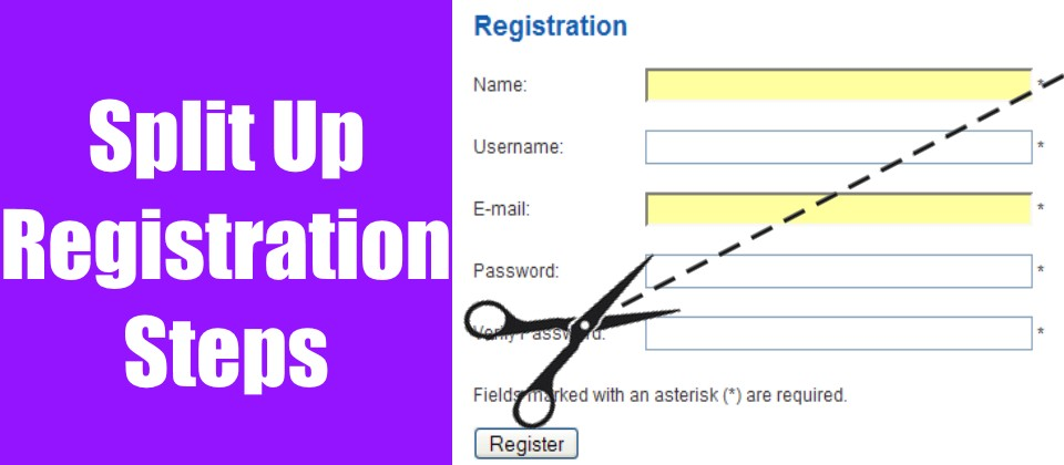 Split Up Registration Steps