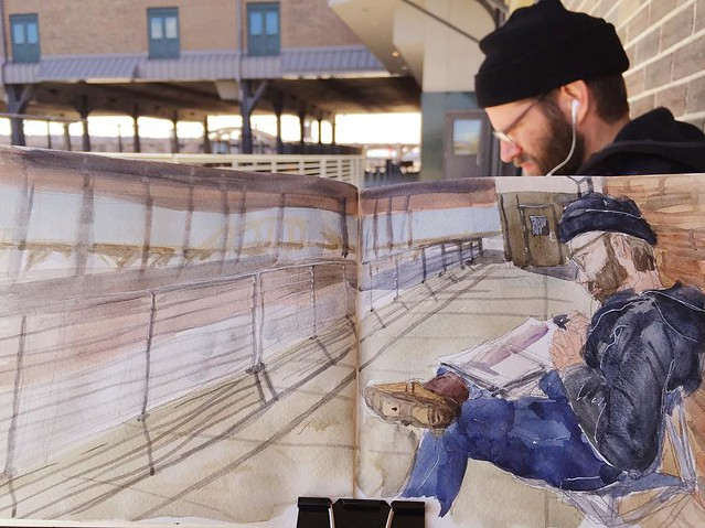 Urban Sketchers Twin Cities sketchout @danieljverde @uniondepot #urbansketchers #urbansketcherstwincities @amtrak