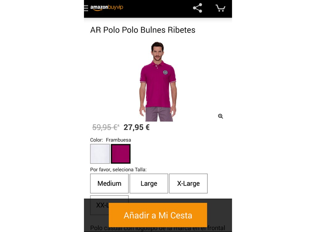 Captura de la aplicación de Buyvip