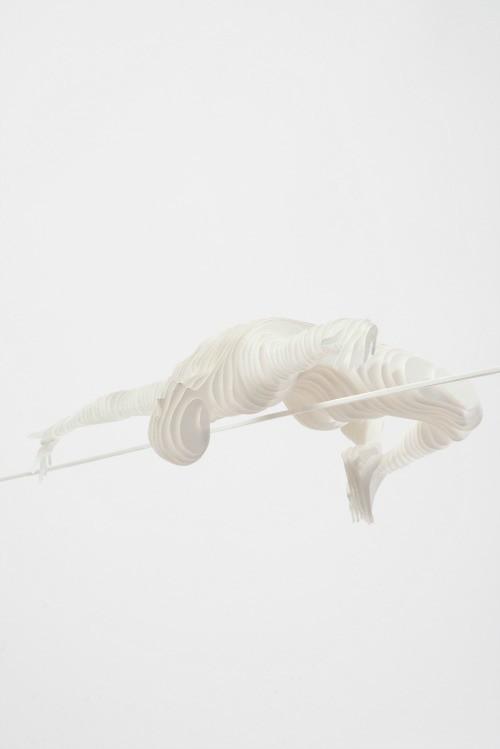 Paper Sculpture Pole Vaulter by Raya Sader Bujana
