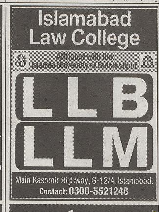 Islalmabad Law College Admission 2016