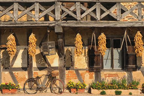 Détail de la façade d'une ancienne ferme bressane de la forêt de Courtes