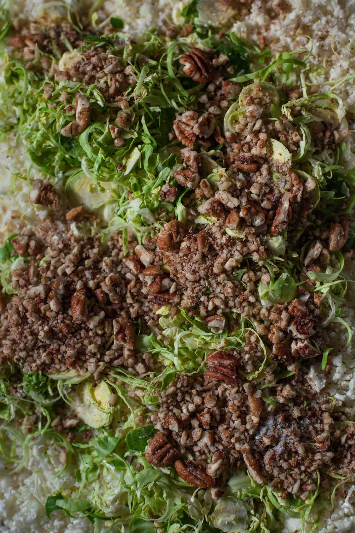 Ingredients for with Roasted Cauliflower Rice with Brussels Sprouts and Pecans (Paleo, Whole30) | acalculatedwhisk.com