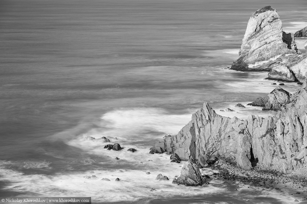 Black and white image of Atlantic ocean coastline