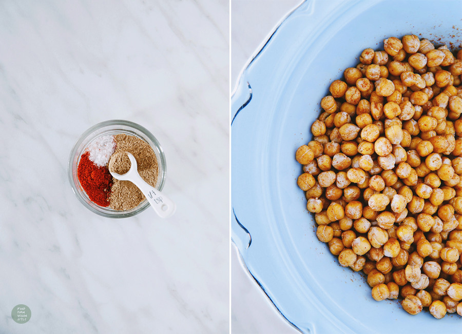 Roasted chickpeas two ways, sweet and spicy version.