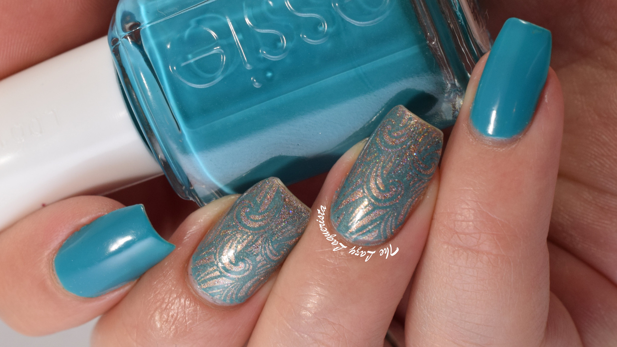 Blue and gold nail stamping