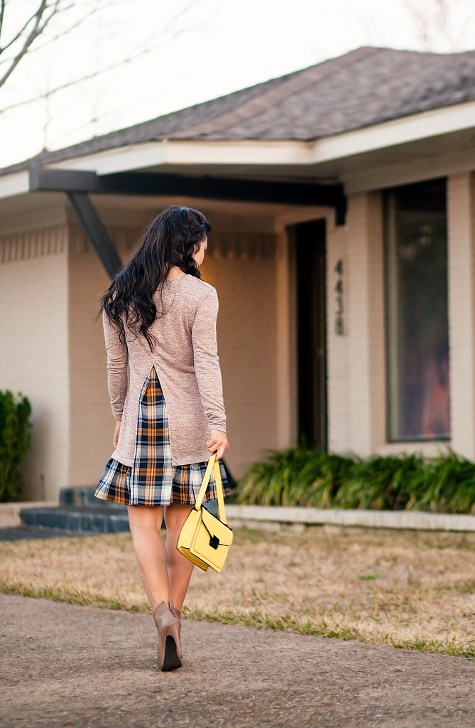 cute & little blog | petite fashion | plaid flounce dress, taupe ankle boots, yellow rider crossbody | outfit