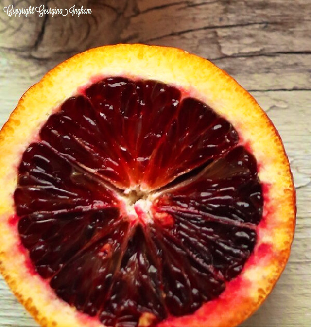 Georgina Ingham | Culinary Travels Photograph: Blood Orange Ruby Ruby Ruby - blood oranges have a distinctive dark-red rind and flesh and taste tarter than regular oranges.