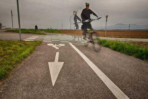 Bike riders in motion