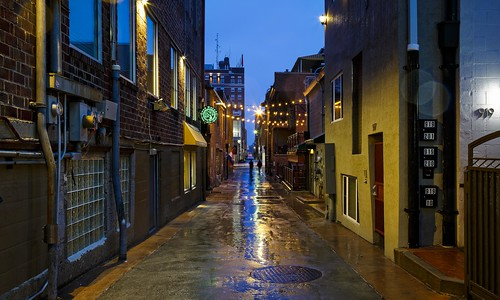Notley Hawkins Photography, Downtown Columbia Missouri, Alley A, Alley A Real Estate, architecture, Blue Hour, Rainy Evening, Rain, reflections