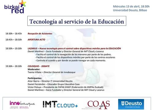 """JORNADA BIZKAIRED - UNIVERSIDAD DEUSTO: """"Nuevas tecnologías al servicio de la Educación"""""""