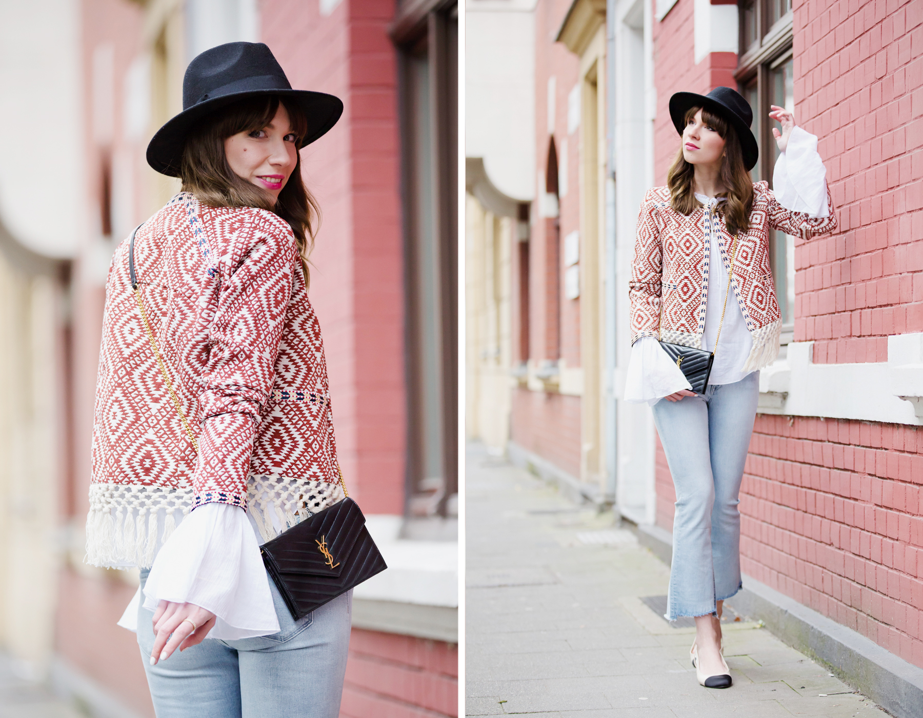 ootd outfit styling lookbook red hippie boho jacket shopbop saint laurent paris ysl bag flared jeans chanel slingback festival style cool girl bangs parisienne fashionblogger cats & dogs ricarda schernus blog 1