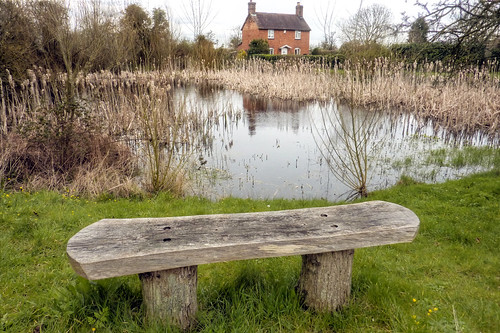 Crowle - bench and cottage across the pond