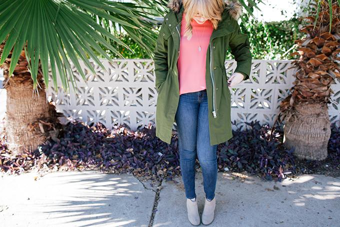 pink blouse green parka9
