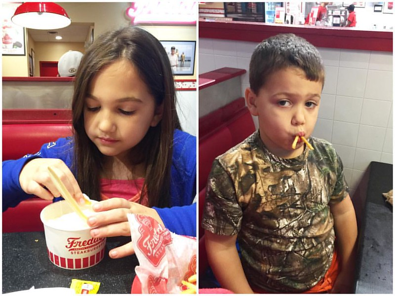 Movie night with these two, but first we have custard & French fries! Okay - we did have a burger before dessert! #Freddys #Antman