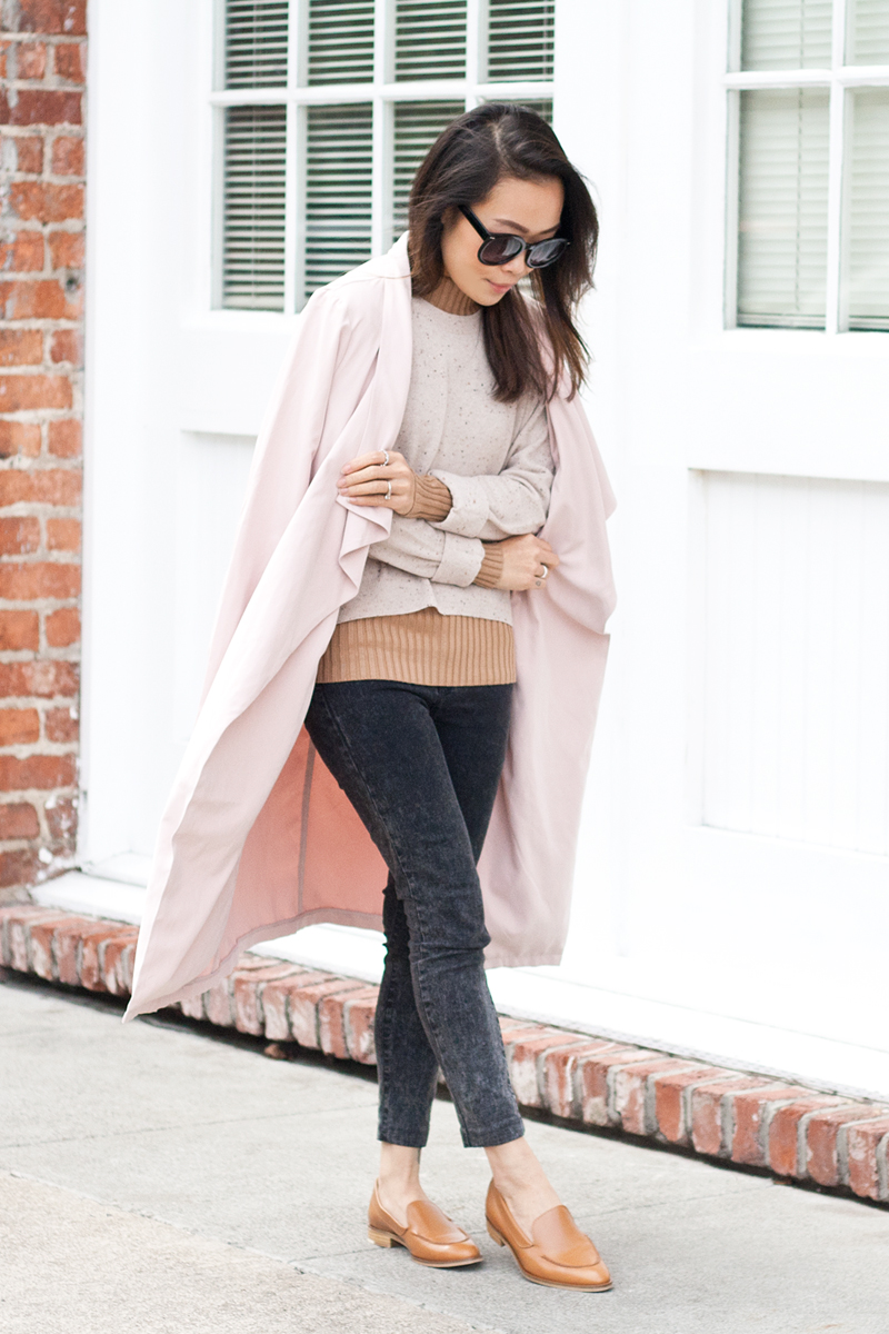 05-everlane-cashmere-sweater-pink-trench-loafers-sf-style-fashion