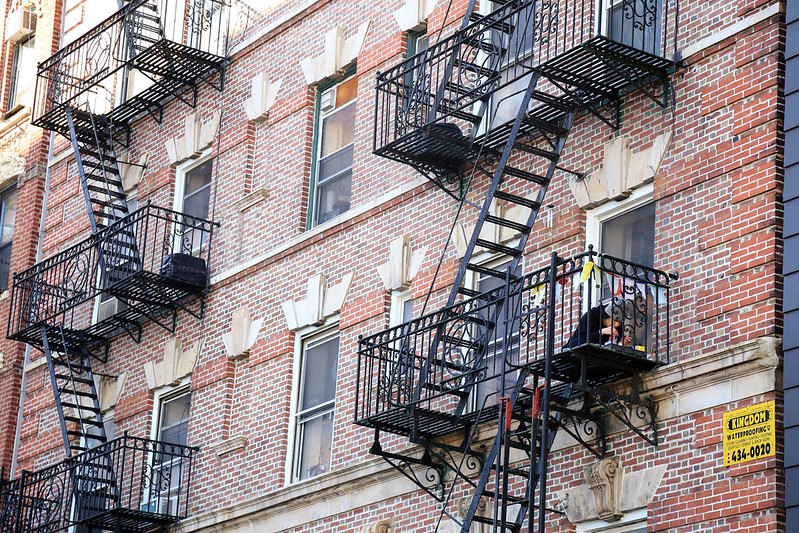 NYC building with emergency stairs