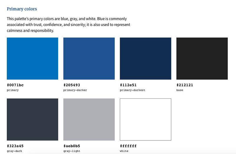 Paleta primaria de colores