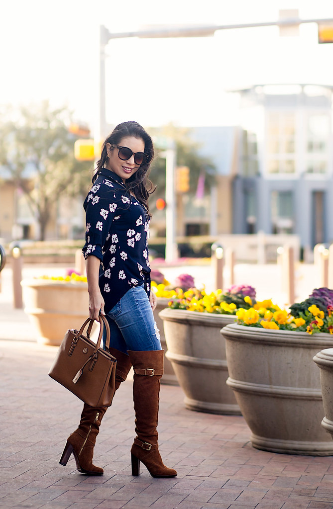 Navy Florals Suede Otk Boots Cute Amp Little Dallas