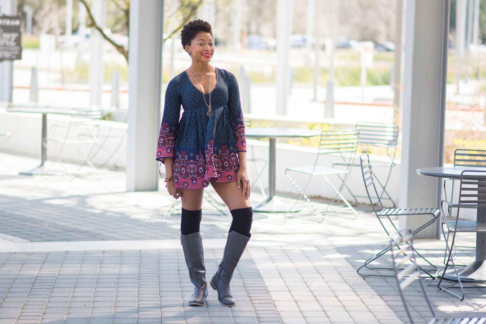 grey soda boots dark floral tunic
