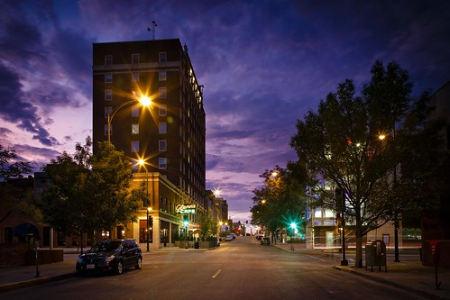 Notley Hawkins Photography, Downtown Columbia Missouri, Tiger Hotel, Skyline, architecture, Sunset