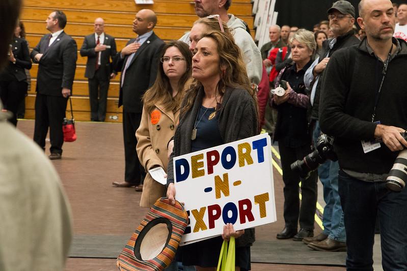 Postal worker Kathy Siron from Staunton, VA attends a rally for Donald Trump in Radford University's Dedmond Center on Feb. 29, 2016. Photo by Scott Beaubien.