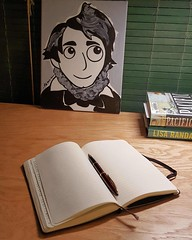 Henry David Thoreau likes my new desk. #henrydavidthoreau  #brenbataclan #moleskine #notebook #waterman #fountainpen #writingtools