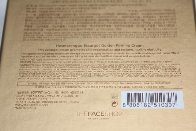 The Face Shop Hwansaenggo Escargot Gold ingredients