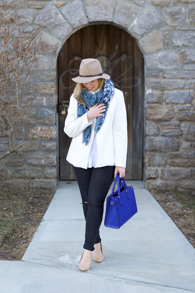 Early Spring Outfit | Ripped Denim | Printed Scarf | Camel Hat on Living After Midnite