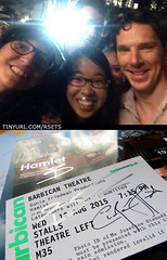 20150811&14 Me, miss G, Benedict Cumberbatch, his siggy, & siggy of Ciarán Hinds :D | The Barbican Centre, London, England