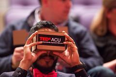 TEDxACU speaker, Saul Delgado, trying out his Google cardboard viewer.