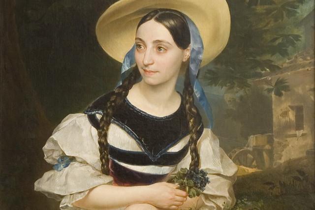 Portrait of Fanny Tacchinardi-Persiani in the role of Amina in Bellini's opera La sonnambula by Karl Briullov (1799–1852), 1834