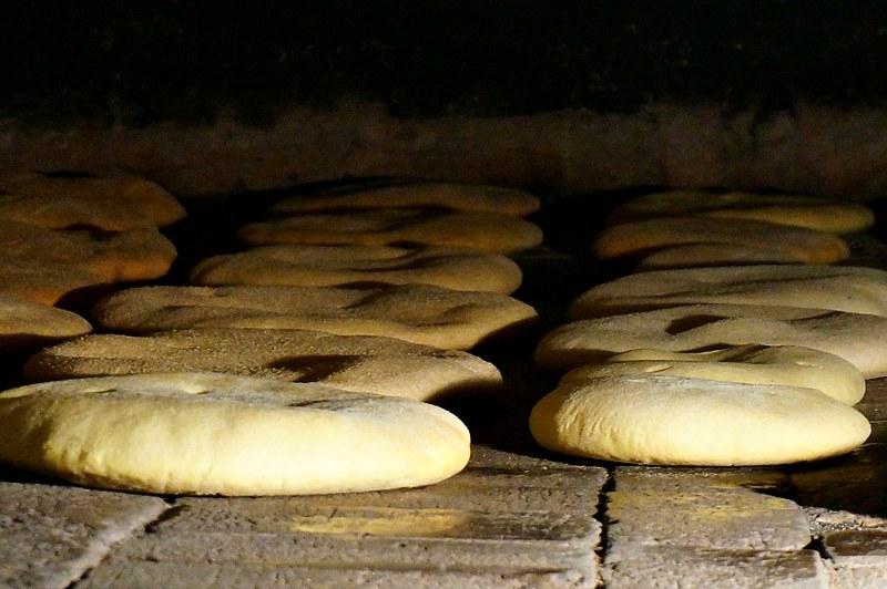 Khobz baking in the huge wood fired oven